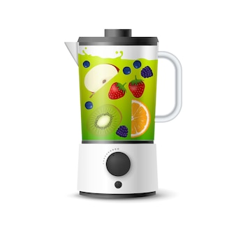 Realistic smoothies in blender glass illustration