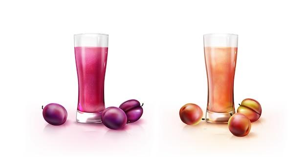 Реалистичные коктейли в стеклянной иллюстрации блендера
