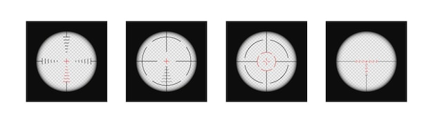 Realistic sniper scope crosshairs view set of target