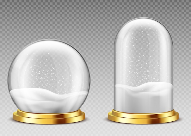 Realistic snow globe and dome, christmas souvenirs