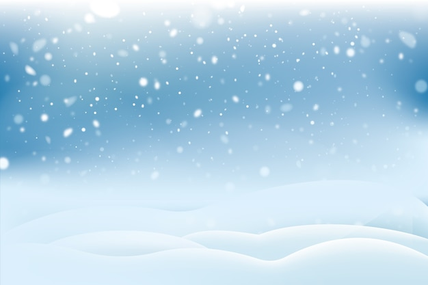 Realistic snowfall background concept