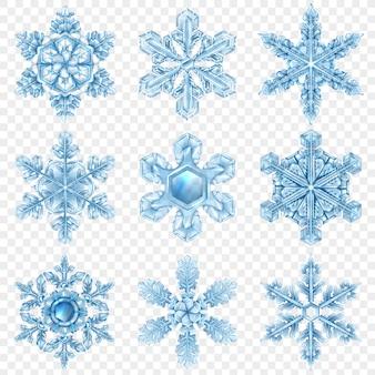 Realistic snowflake  set