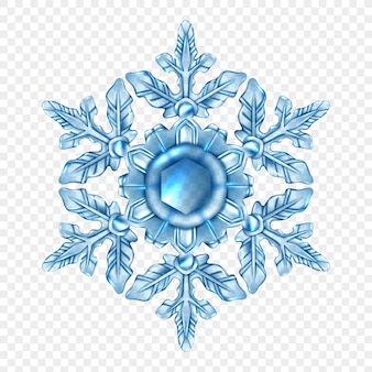Realistic snowflake transparent composition