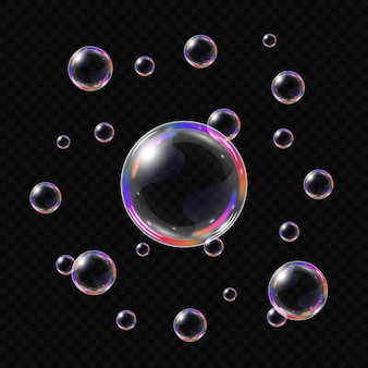 Realistic soap bubbles isolated