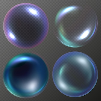 Realistic soap bubbles set in vector with shine glare and rainbow isolated on transparent background
