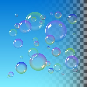 Realistic soap bubbles with rainbow colors