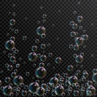 Realistic soap bubbles with rainbow reflection on transparent . soap foam, shampoo bubbles in bath or shower. 3d bubble.