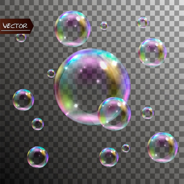 Realistic soap bubbles with rainbow reflection.