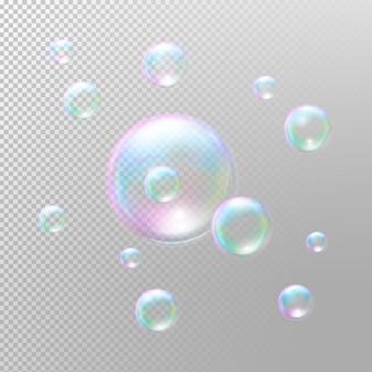 Realistic soap bubbles.