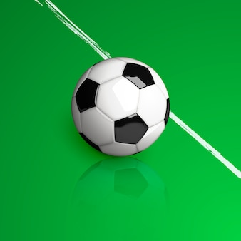 Realistic soccer ball on a green background.