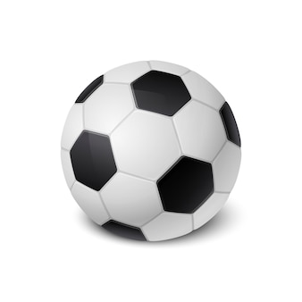 Realistic soccer ball icon closeup isolated on white background. design template of sports equipment for app, web etc. clipart, mockup etc