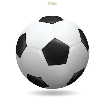 Realistic soccer football ball on white background with soft shadow.