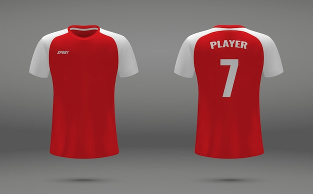 Realistic soccer jersey, t-shirt of arsenal london, uniform template for football
