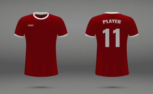 Realistic soccer jersey, t-shirt of liverpool