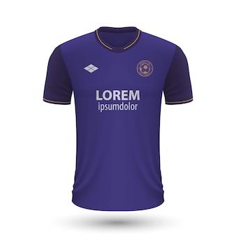 リアルなサッカーシャツanderlecht2022、足のジャージテンプレート