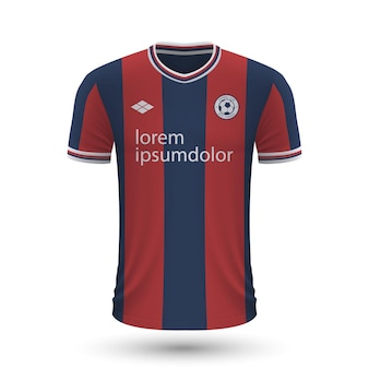 リアルなサッカーシャツボローニャ2022、フットバルのジャージテンプレート