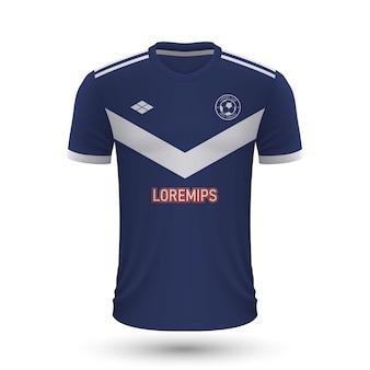 リアルなサッカーシャツbordeaux2022、footbaのジャージテンプレート