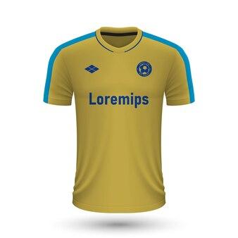リアルなサッカーシャツbrondby2022、フットバル用のジャージテンプレート