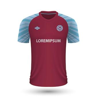 リアルなサッカーシャツバーンリー2022、フットバルのジャージテンプレート