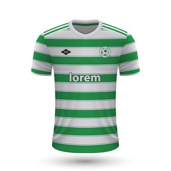 リアルなサッカーシャツセルティック2022、サッカーのジャージテンプレート