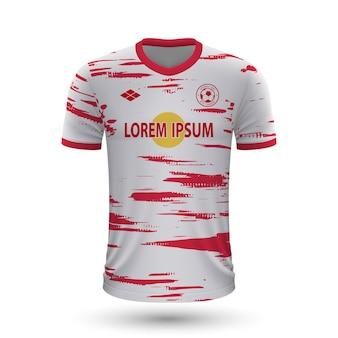 リアルなサッカーシャツライプツィヒ2022、フットバル用ジャージテンプレート