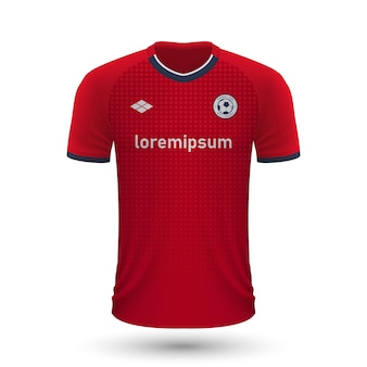 Realistic soccer shirt lille 2022, jersey template for football