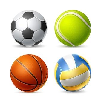 Реалистичный футбол волейбол футбол теннис и баскетбол набор векторных спортивных снаряжения