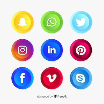 Realistic social media logo collection