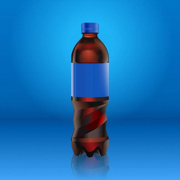 Realistic soda bottle mock up with blue label isolated on blue
