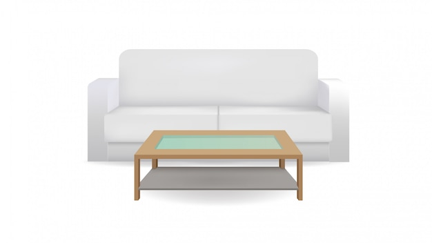 Realistic sofa and table