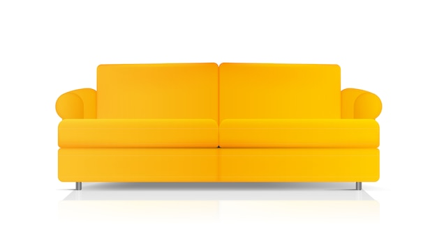 Realistic sofa. yellow sofa isolated on a white background. element for interior design.