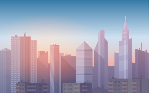 Realistic, soft cartoon cityscape background.