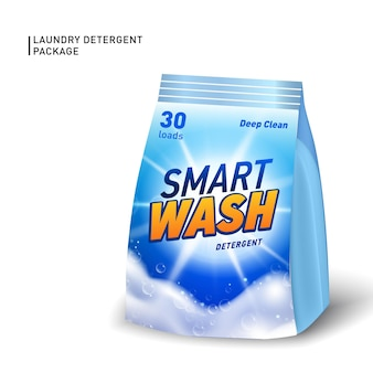 Realistic soft container for detergent.