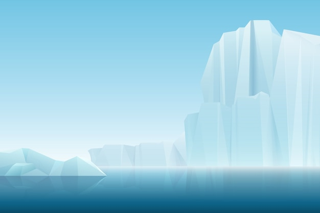 Realistic soft fog arctic iceberg ice mountains with blue sea, winter landscape.