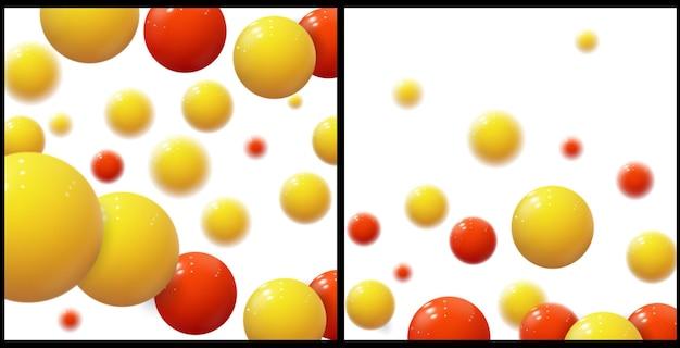 リアルなソフトスフィア。プラスチックの泡。光沢のあるボール。 3d幾何学的形状、抽象的な背景。現代の表紙または年次報告書のコンセプトデザイン。動的ベクトルテンプレートのセット。