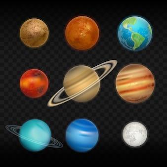 Realistic solar system planet set