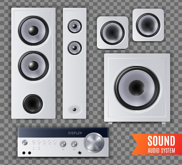 Realistic sound audio system transparent icon set with different shape and size  illustration