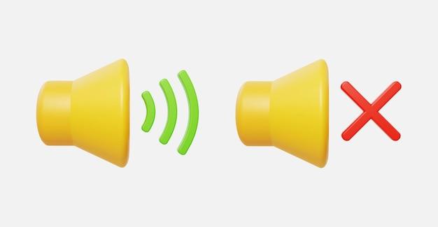 볼륨 사운드 및 음소거가 있는 현실적인 사운드 벡터 일러스트