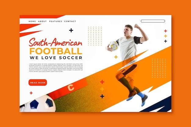 Modello di pagina di destinazione del calcio sudamericano realistico