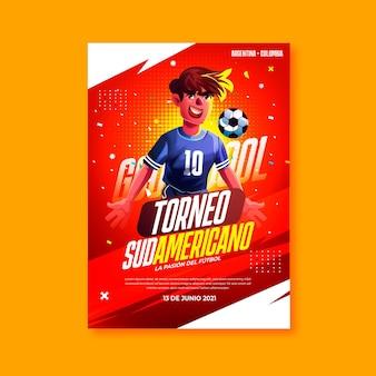 Modello di poster verticale realistico di calcio sudamericano