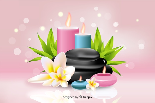 Realistic spa background with candlelight on pink background
