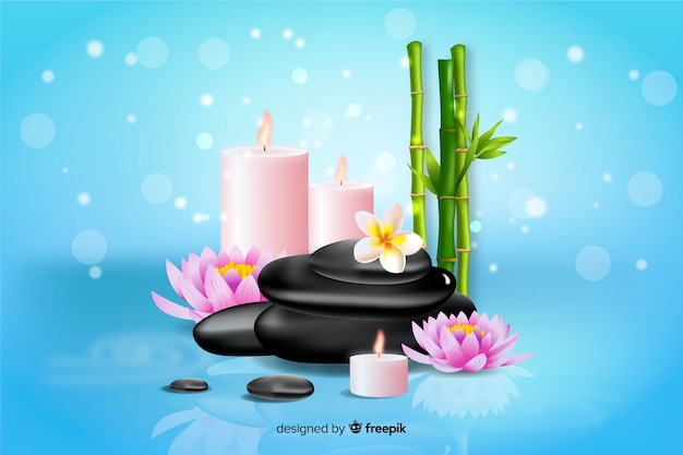 Realistic spa background with candles and bamboo