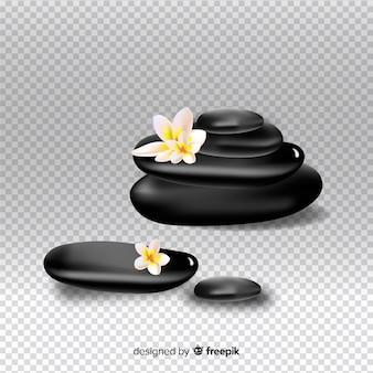 透明な背景の上に花と現実的なスパ石