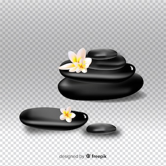 Realistic spa stones with flowers on transparent background