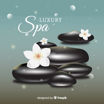 Realistic spa stones with flowers