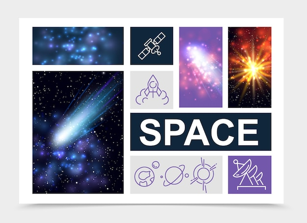 Realistic space elements set with stars nebula comets sunlight effects rocket satellite planets icons isolated