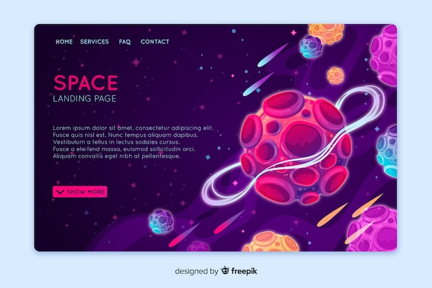 Realistic space landing page template
