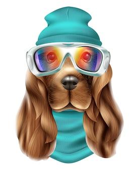 Realistic spaniel dog ski suit portrait