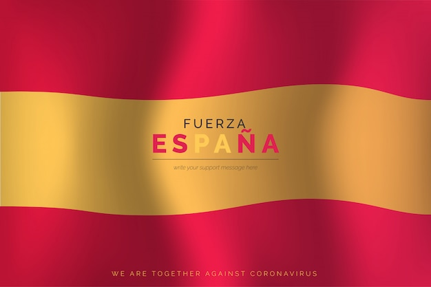 Realistic spanish flag with support message