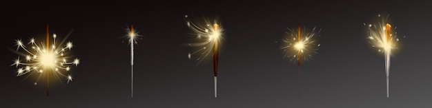 Realistic sparklers set, wind blows sparks.